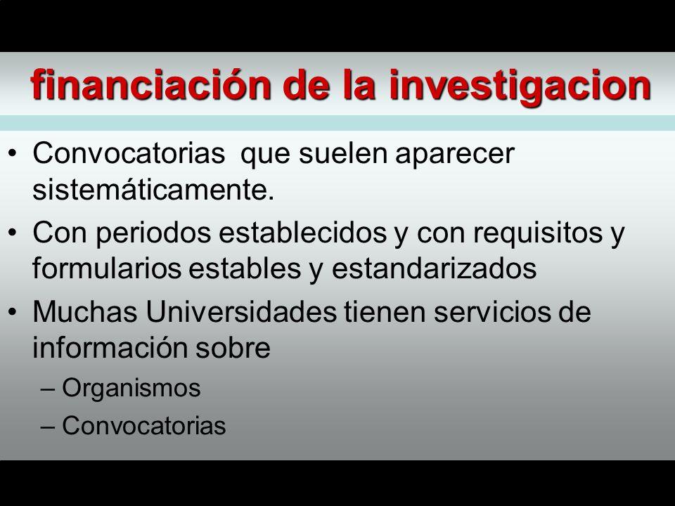 financiación de la investigacion Convocatorias que suelen aparecer sistemáticamente.
