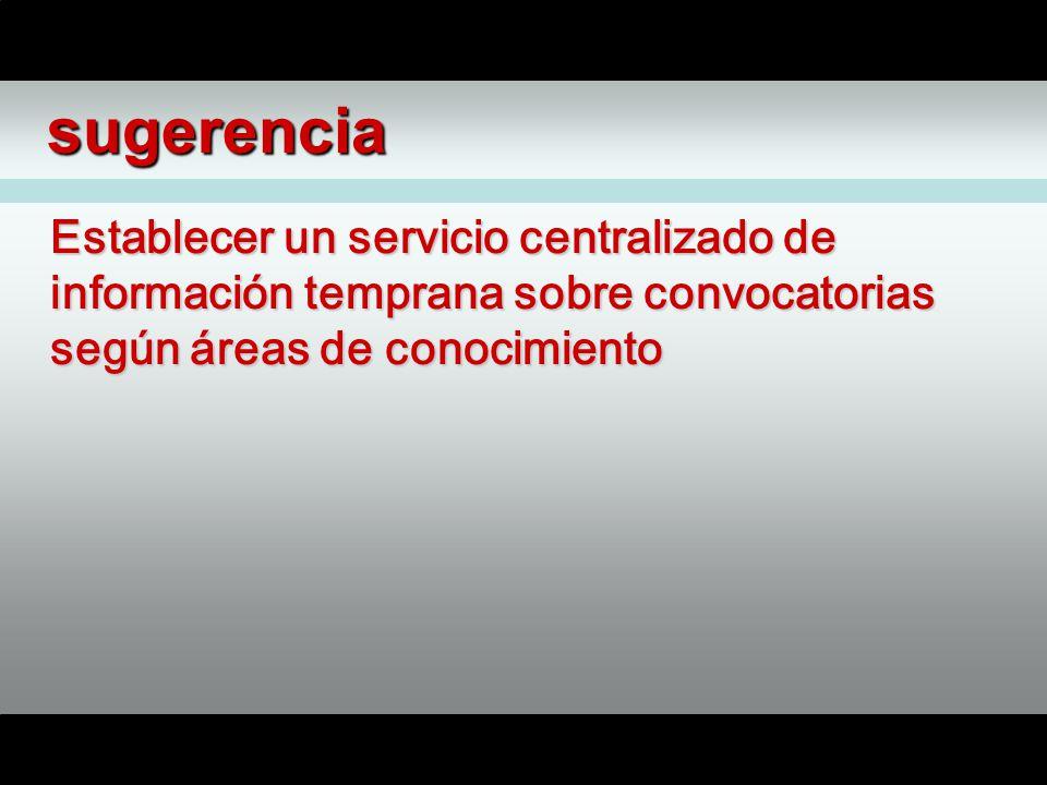 sugerencia Establecer un servicio centralizado de información temprana sobre convocatorias según áreas de conocimiento