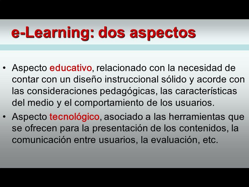 e-Learning: dos aspectos Aspecto educativo, relacionado con la necesidad de contar con un diseño instruccional sólido y acorde con las consideraciones pedagógicas, las características del medio y el comportamiento de los usuarios.