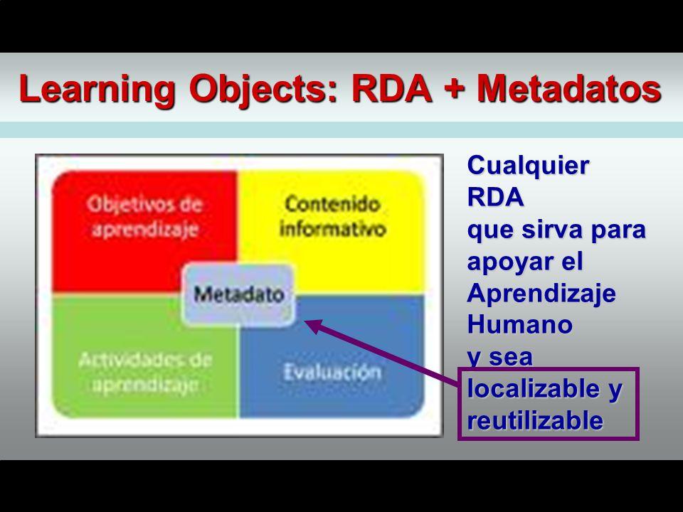 Learning Objects: RDA + Metadatos CualquierRDA que sirva para apoyar el AprendizajeHumano y sea localizable y reutilizable