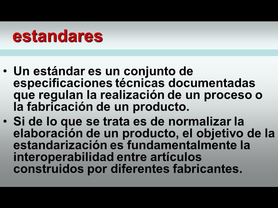 estandares Un estándar es un conjunto de especificaciones técnicas documentadas que regulan la realización de un proceso o la fabricación de un producto.