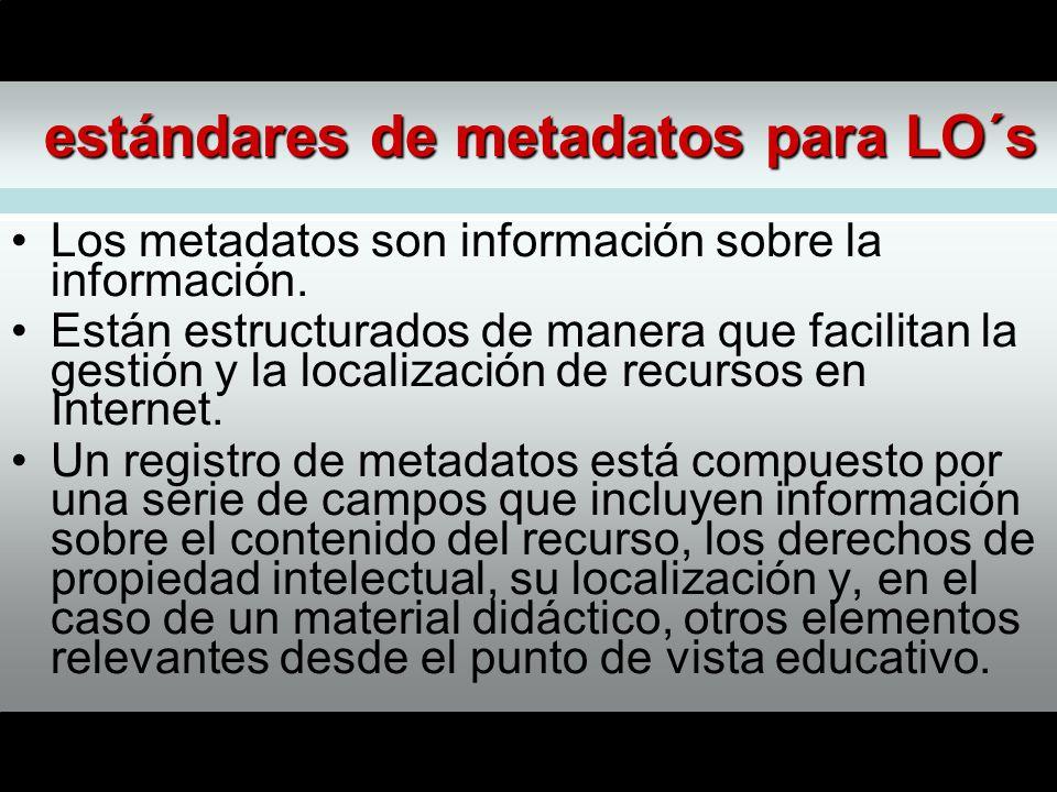 estándares de metadatos para LO´s Los metadatos son información sobre la información.