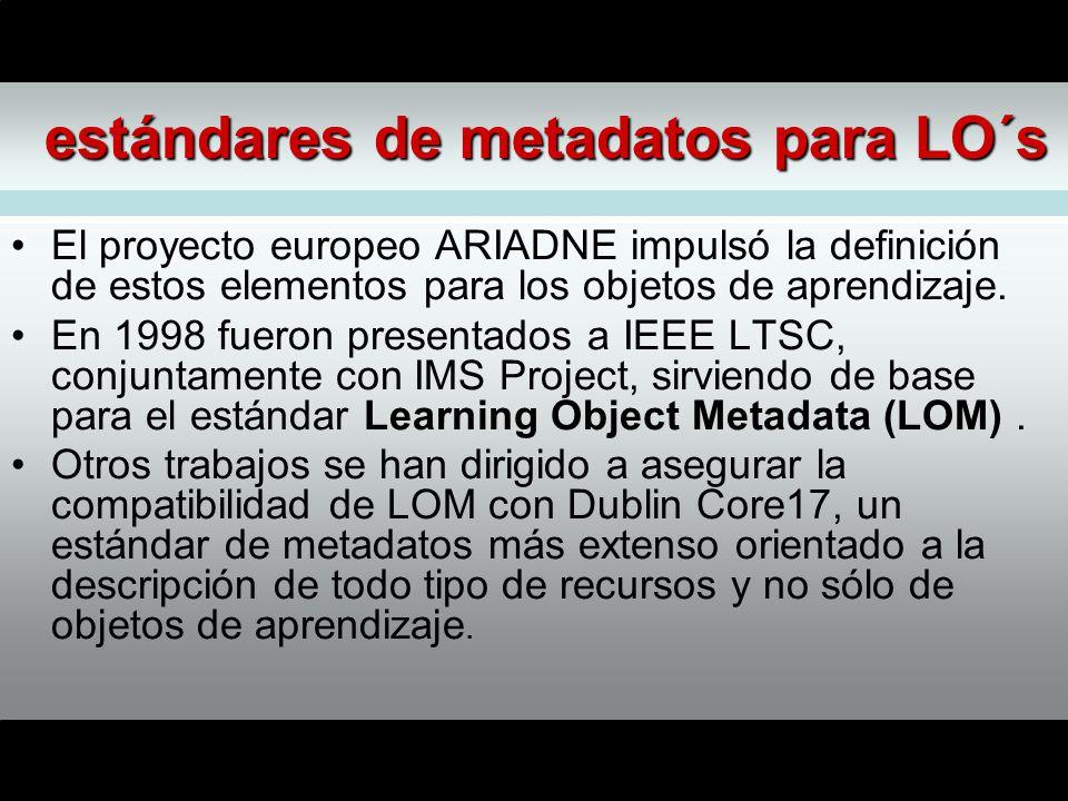 estándares de metadatos para LO´s El proyecto europeo ARIADNE impulsó la definición de estos elementos para los objetos de aprendizaje.