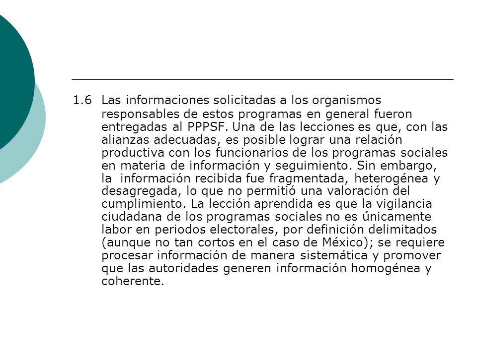 1.6 Las informaciones solicitadas a los organismos responsables de estos programas en general fueron entregadas al PPPSF.