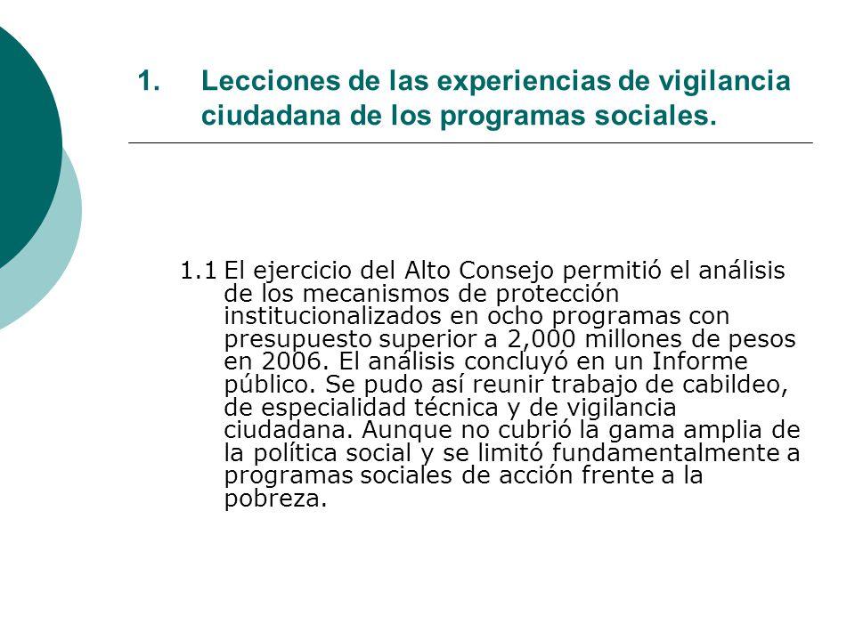 1.Lecciones de las experiencias de vigilancia ciudadana de los programas sociales.
