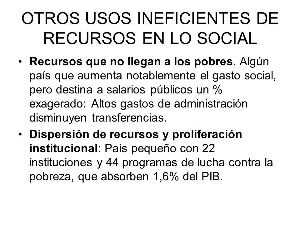 OTROS USOS INEFICIENTES DE RECURSOS EN LO SOCIAL Recursos que no llegan a los pobres. Algún país que aumenta notablemente el gasto social, pero destin