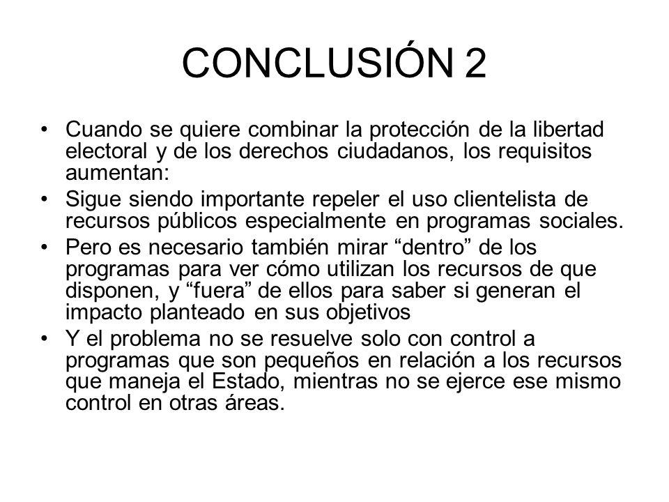 CONCLUSIÓN 2 Cuando se quiere combinar la protección de la libertad electoral y de los derechos ciudadanos, los requisitos aumentan: Sigue siendo impo
