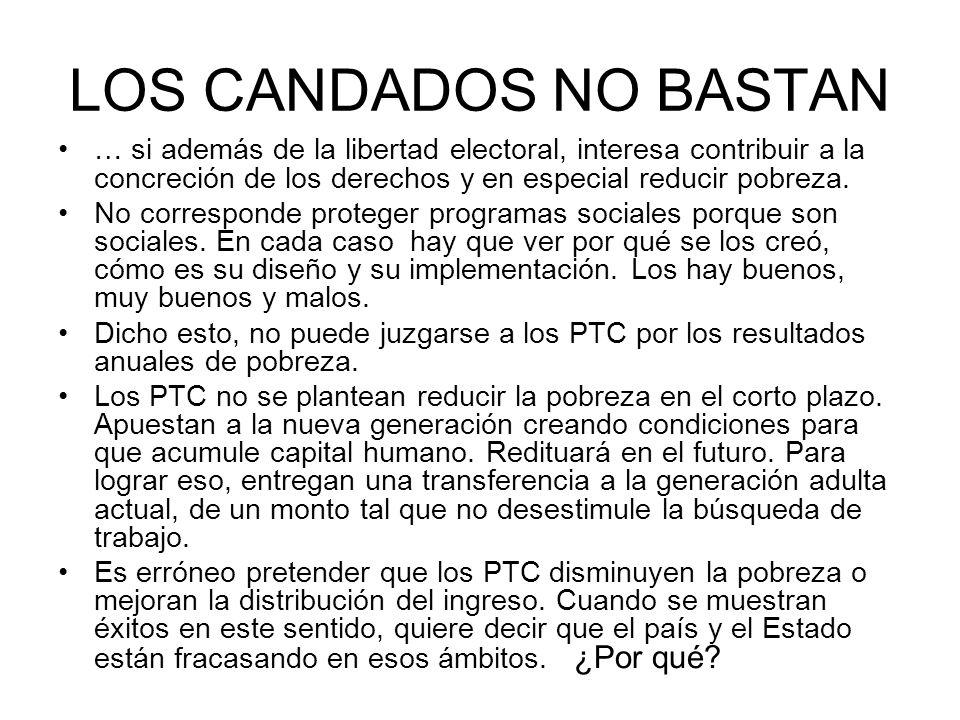 LOS CANDADOS NO BASTAN … si además de la libertad electoral, interesa contribuir a la concreción de los derechos y en especial reducir pobreza. No cor