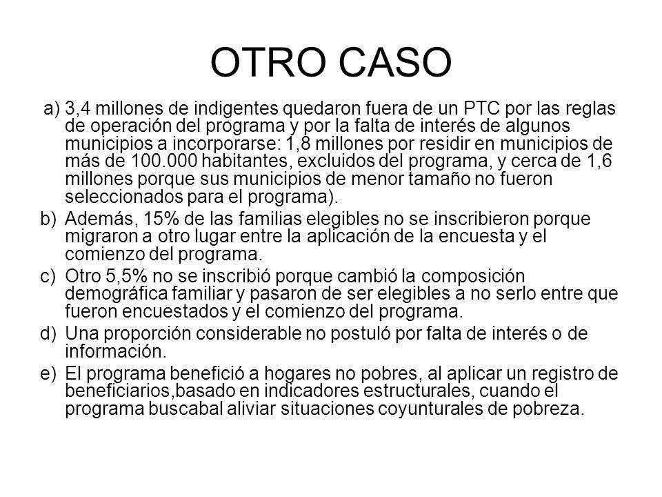 OTRO CASO a)3,4 millones de indigentes quedaron fuera de un PTC por las reglas de operación del programa y por la falta de interés de algunos municipi