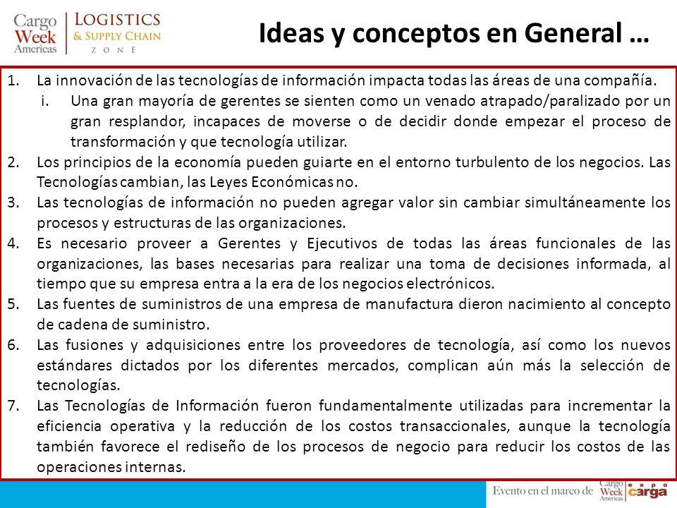 Ideas y conceptos en General … 1.La innovación de las tecnologías de información impacta todas las áreas de una compañía. i.Una gran mayoría de gerent
