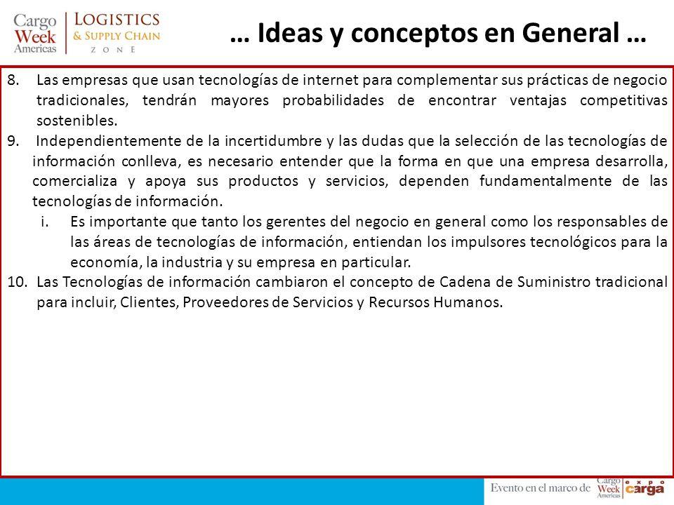 … Ideas y conceptos en General … 8.Las empresas que usan tecnologías de internet para complementar sus prácticas de negocio tradicionales, tendrán may