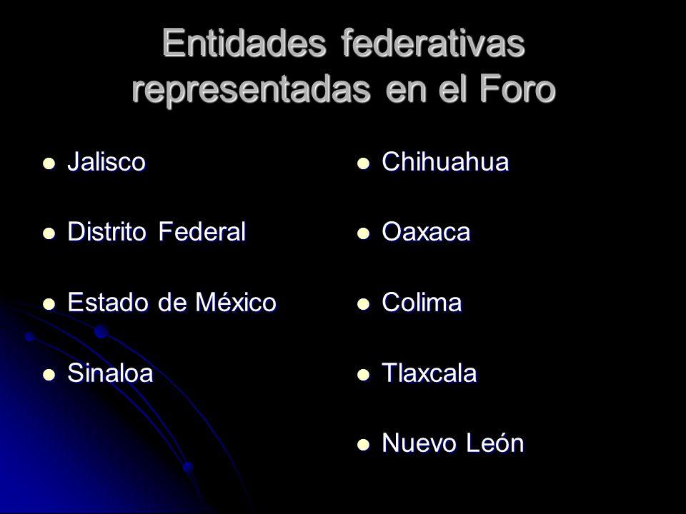 Entidades federativas representadas en el Foro Jalisco Jalisco Distrito Federal Distrito Federal Estado de México Estado de México Sinaloa Sinaloa Chi