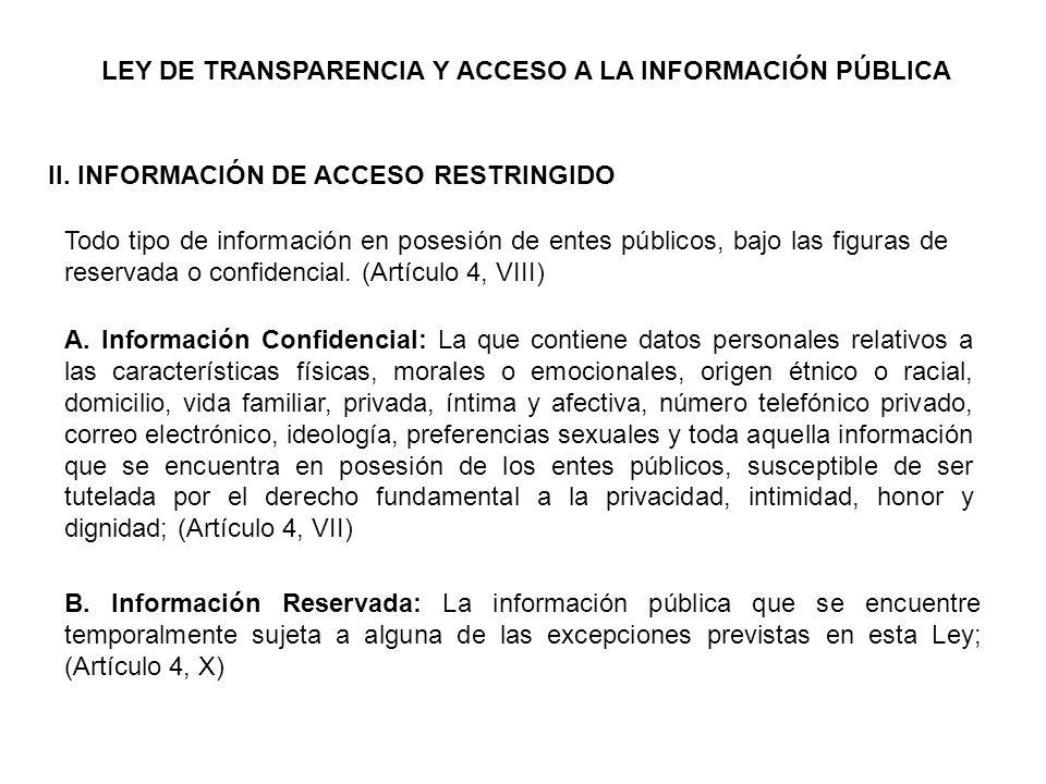 LEY DE TRANSPARENCIA Y ACCESO A LA INFORMACIÓN PÚBLICA II.