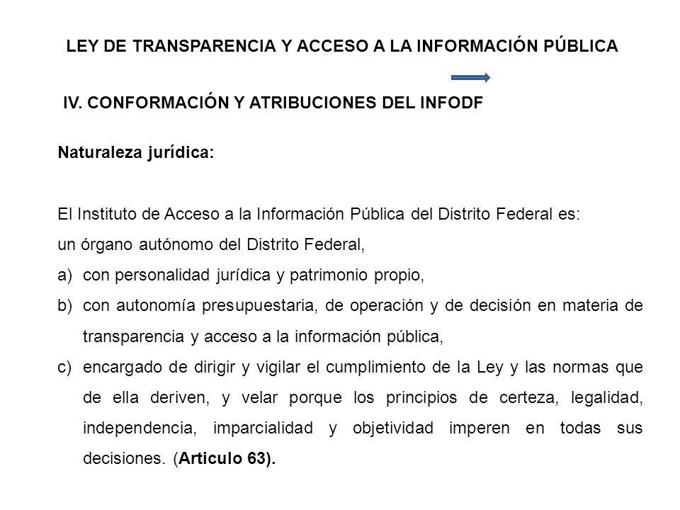 LEY DE TRANSPARENCIA Y ACCESO A LA INFORMACIÓN PÚBLICA IV.