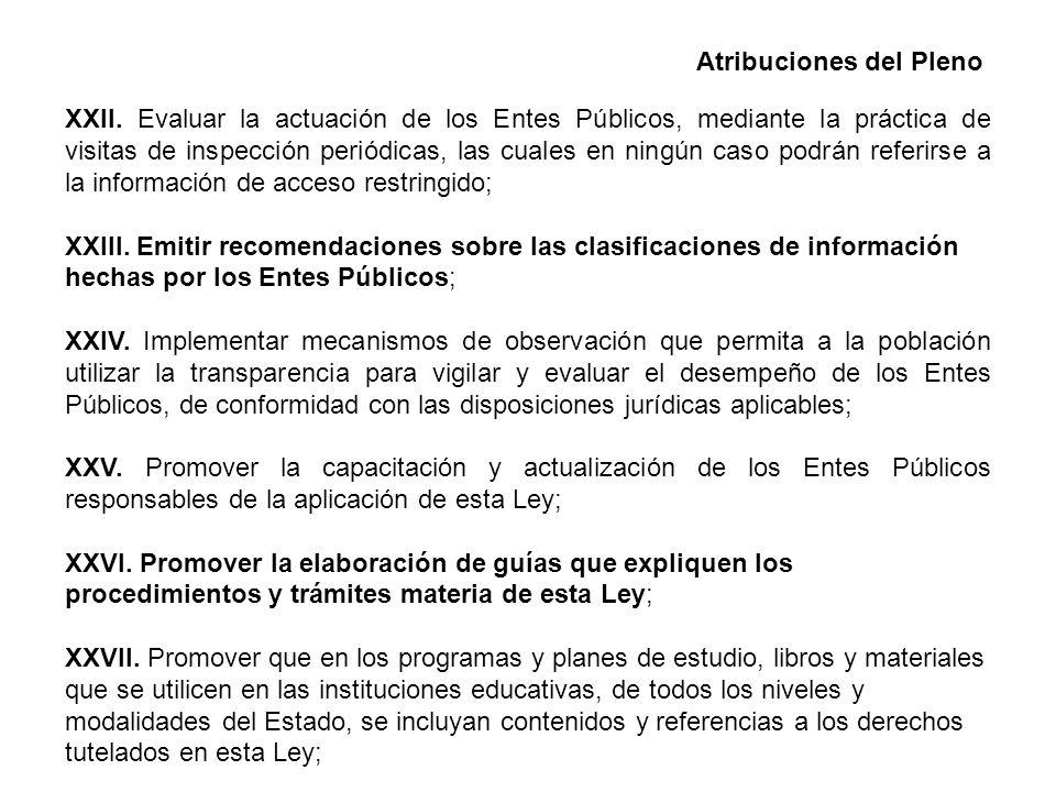 Atribuciones del Pleno XXII.