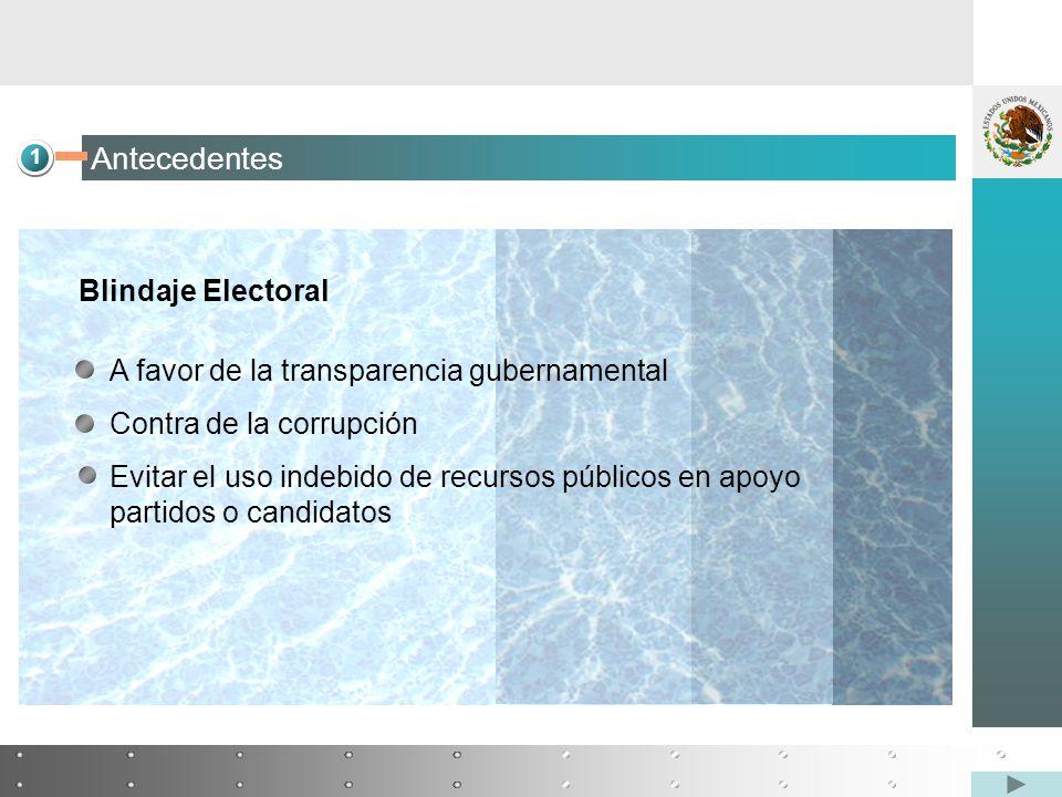 1 Antecedentes Blindaje Electoral A favor de la transparencia gubernamental Contra de la corrupción Evitar el uso indebido de recursos públicos en apoyo partidos o candidatos