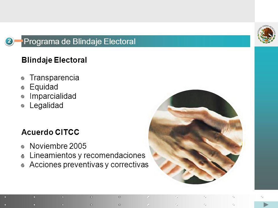 2 Programa de Blindaje Electoral Blindaje Electoral Transparencia Equidad Imparcialidad Legalidad Acuerdo CITCC Noviembre 2005 Lineamientos y recomendaciones Acciones preventivas y correctivas