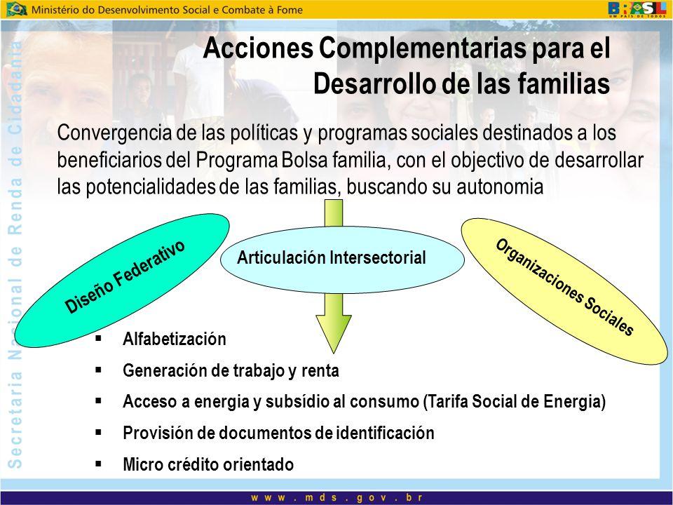 Acciones Complementarias para el Desarrollo de las familias Convergencia de las políticas y programas sociales destinados a los beneficiarios del Prog