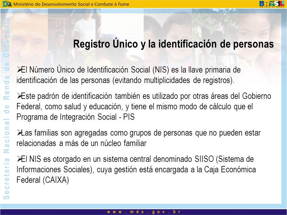 Registro Único y la identificación de personas El Número Único de Identificación Social (NIS) es la llave primaria de identificación de las personas (