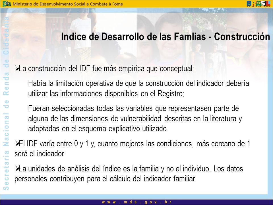 Indice de Desarrollo de las Famlias - Construcción La construcción del IDF fue más empírica que conceptual: Había la limitación operativa de que la co