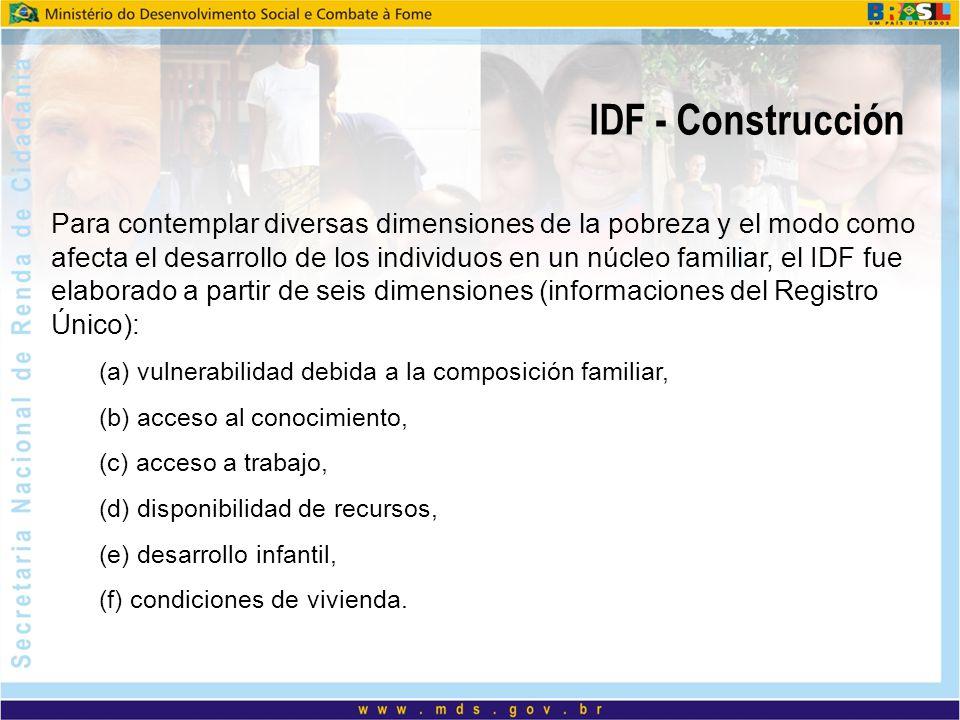 IDF - Construcción Para contemplar diversas dimensiones de la pobreza y el modo como afecta el desarrollo de los individuos en un núcleo familiar, el