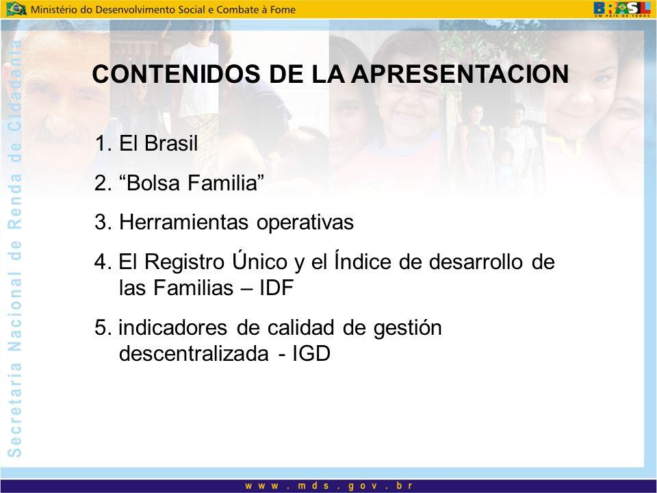 CONTENIDOS DE LA APRESENTACION 1.El Brasil 2.Bolsa Familia 3.Herramientas operativas 4. El Registro Único y el Índice de desarrollo de las Familias –