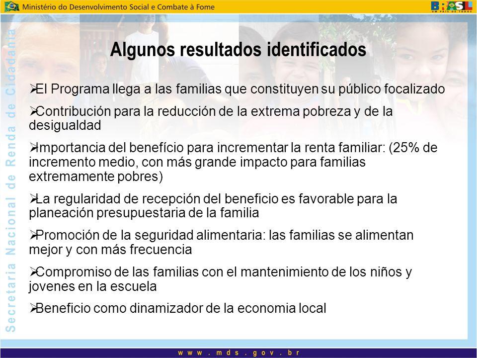 Algunos resultados identificados El Programa llega a las familias que constituyen su público focalizado Contribución para la reducción de la extrema p
