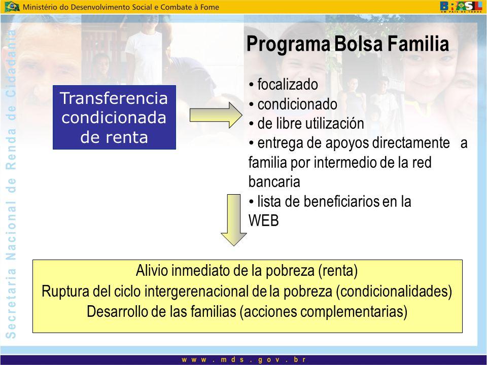 Programa Bolsa Familia Transferencia condicionada de renta Alivio inmediato de la pobreza (renta) Ruptura del ciclo intergerenacional de la pobreza (c