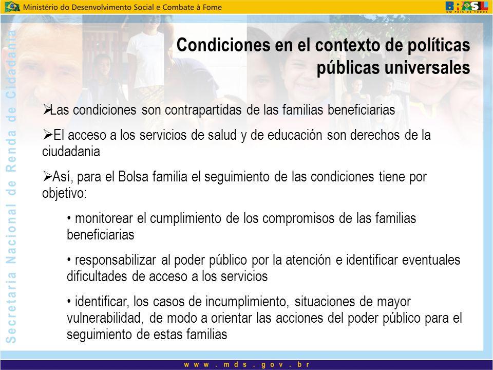 Condiciones en el contexto de políticas públicas universales Las condiciones son contrapartidas de las familias beneficiarias El acceso a los servicio