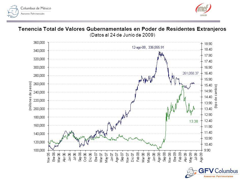 Tenencia Total de Valores Gubernamentales en Poder de Residentes Extranjeros (Datos al 24 de Junio de 2009)