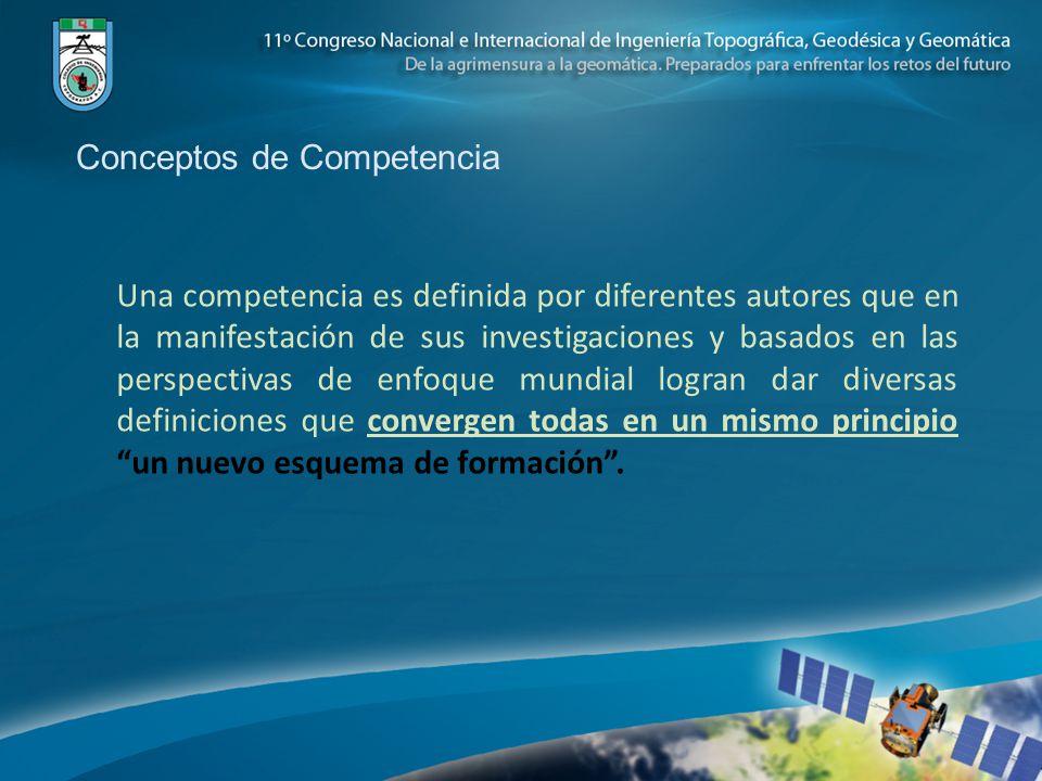 Conceptos de Competencia Una competencia es definida por diferentes autores que en la manifestación de sus investigaciones y basados en las perspectivas de enfoque mundial logran dar diversas definiciones que convergen todas en un mismo principio un nuevo esquema de formación.