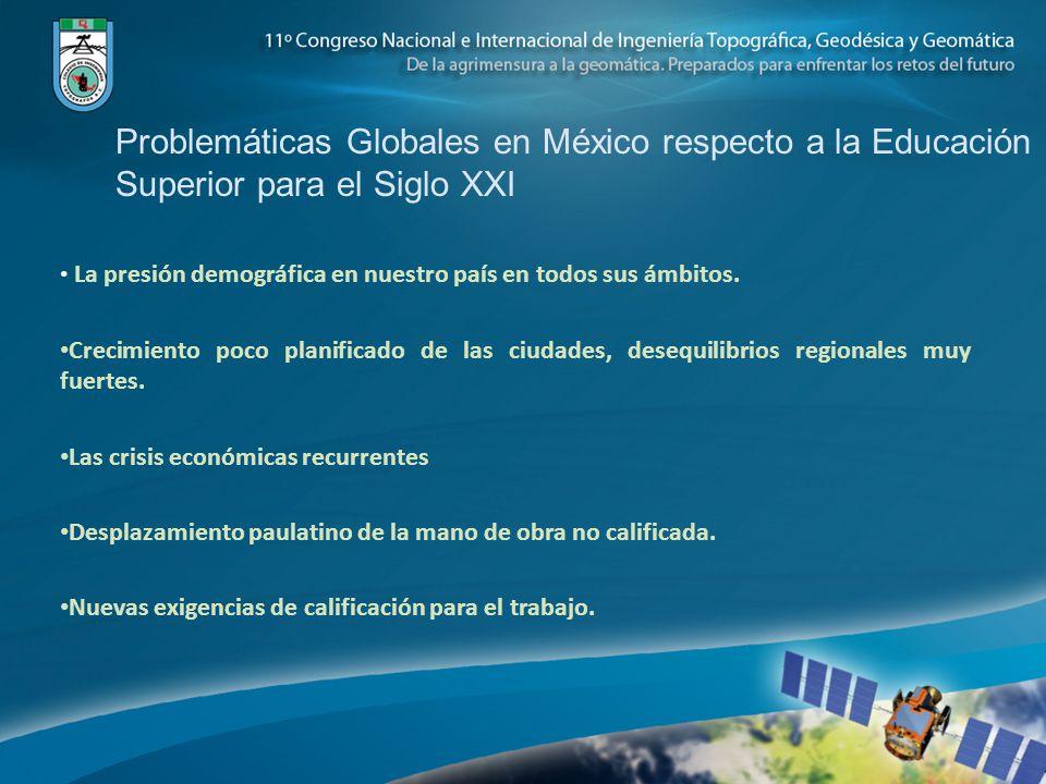 Problemáticas Globales en México respecto a la Educación Superior para el Siglo XXI La presión demográfica en nuestro país en todos sus ámbitos. Creci