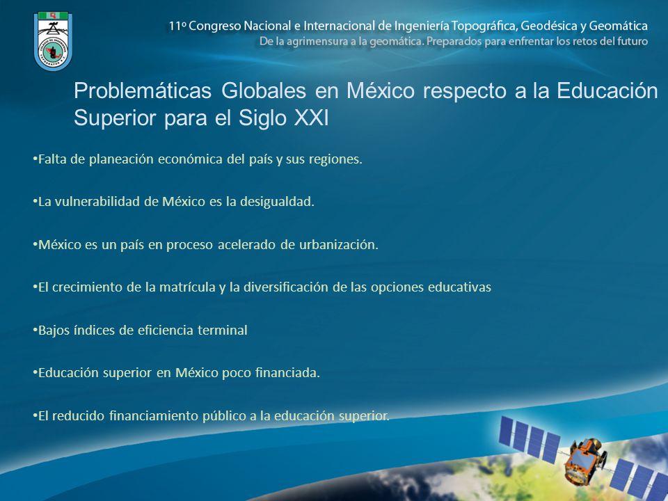Problemáticas Globales en México respecto a la Educación Superior para el Siglo XXI Falta de planeación económica del país y sus regiones. La vulnerab