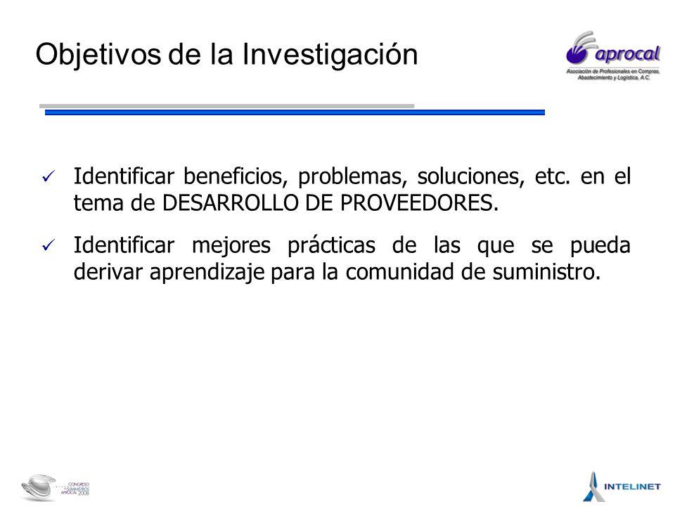 Objetivos de la Investigación Identificar beneficios, problemas, soluciones, etc.