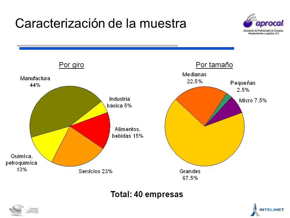 Caracterización de la muestra Total: 40 empresas Por giro Por tamaño
