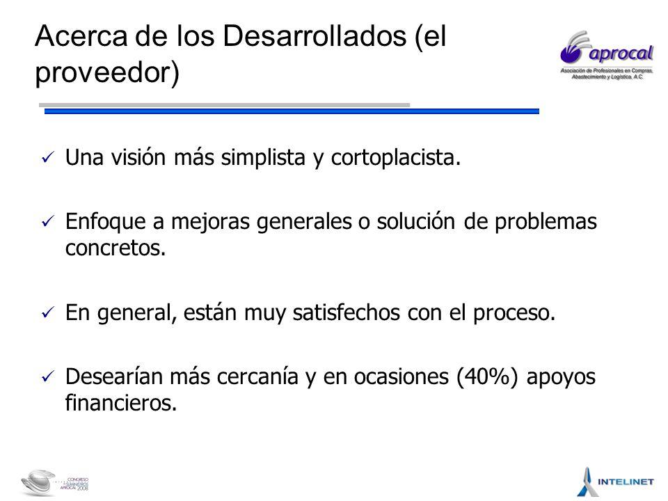 Acerca de los Desarrollados (el proveedor) Una visión más simplista y cortoplacista.