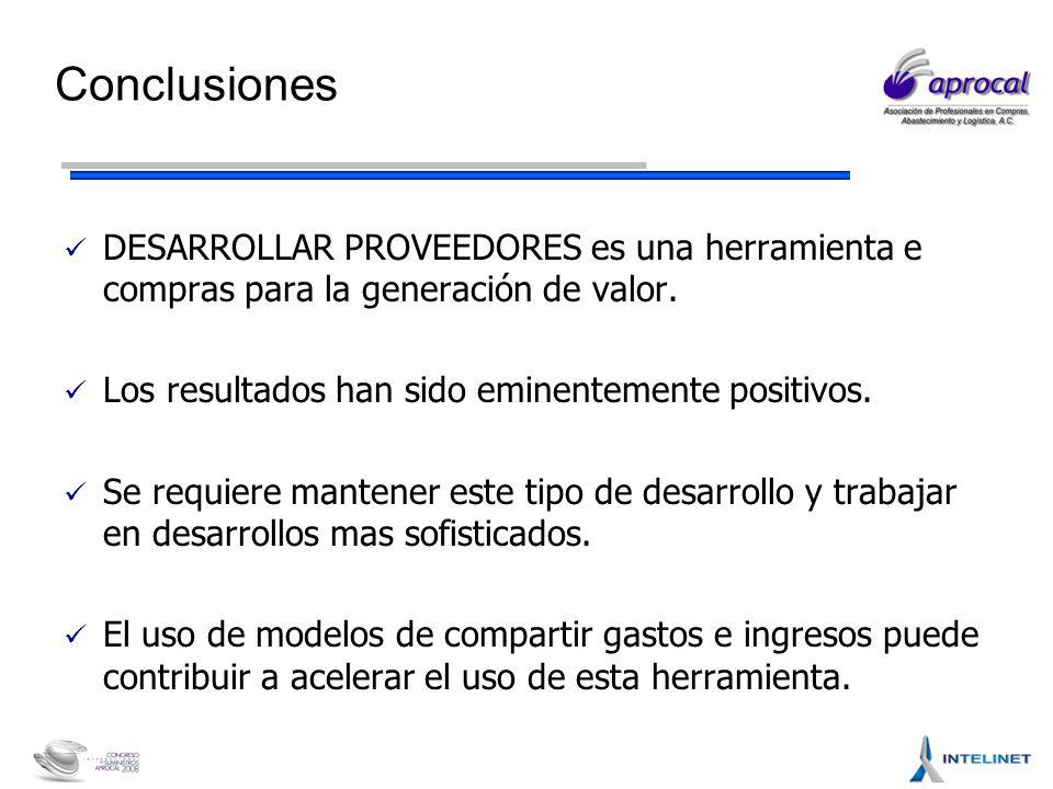 Conclusiones DESARROLLAR PROVEEDORES es una herramienta e compras para la generación de valor.