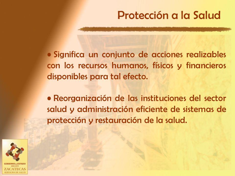 Protección a la Salud Significa un conjunto de acciones realizables con los recursos humanos, físicos y financieros disponibles para tal efecto.
