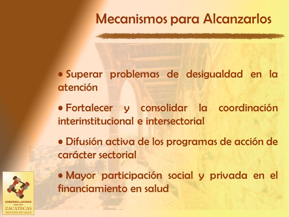 Mecanismos para Alcanzarlos Superar problemas de desigualdad en la atención Fortalecer y consolidar la coordinación interinstitucional e intersectorial Difusión activa de los programas de acción de carácter sectorial Mayor participación social y privada en el financiamiento en salud