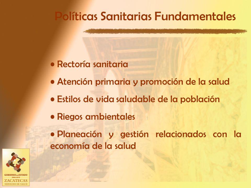Políticas Sanitarias Fundamentales Rectoría sanitaria Atención primaria y promoción de la salud Estilos de vida saludable de la población Riegos ambientales Planeación y gestión relacionados con la economía de la salud