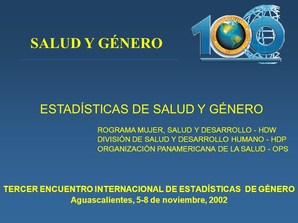 TERCER ENCUENTRO INTERNACIONAL DE ESTADÍSTICAS DE GÉNERO Aguascalientes, 5-8 de noviembre, 2002 ESTADÍSTICAS DE SALUD Y GÉNERO ROGRAMA MUJER, SALUD Y