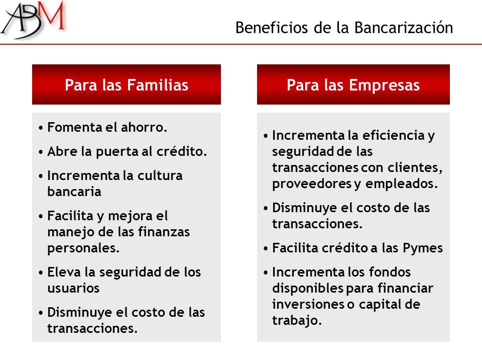 Beneficios de la Bancarización Para las Familias Fomenta el ahorro. Abre la puerta al crédito. Incrementa la cultura bancaria Facilita y mejora el man