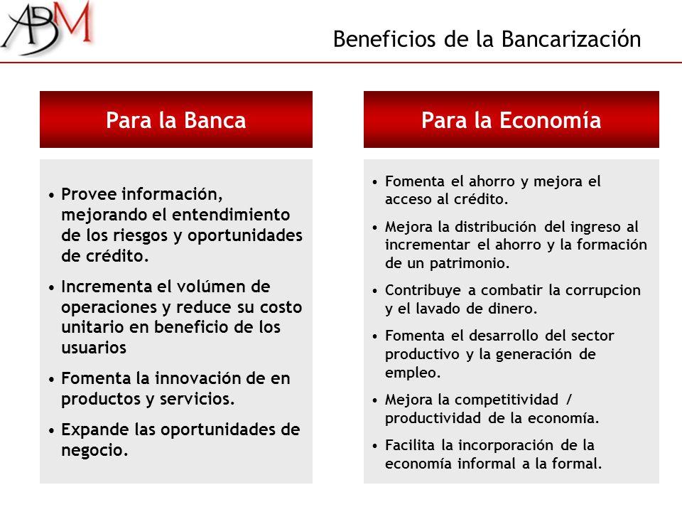Beneficios de la Bancarización Para la Banca Provee información, mejorando el entendimiento de los riesgos y oportunidades de crédito. Incrementa el v