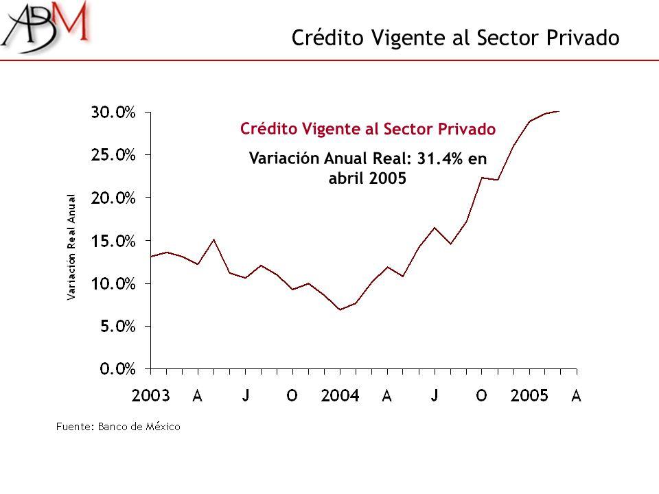 Crédito Vigente al Sector Privado Variación Anual Real: 31.4% en abril 2005
