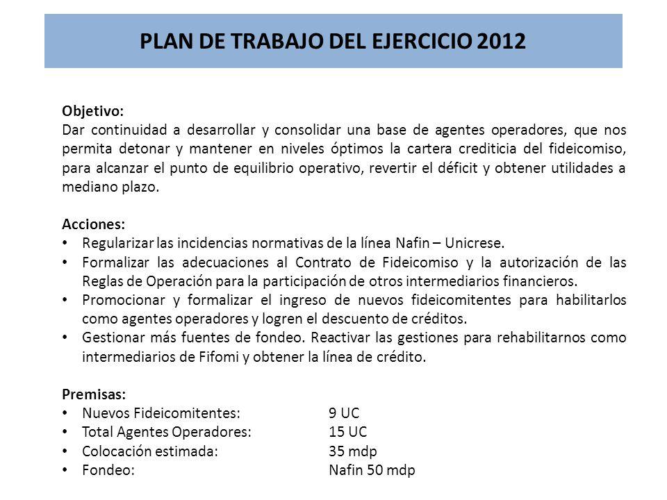 PLAN DE TRABAJO DEL EJERCICIO 2012 Objetivo: Dar continuidad a desarrollar y consolidar una base de agentes operadores, que nos permita detonar y mant