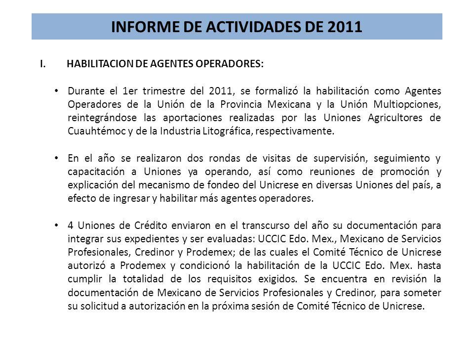 INFORME DE ACTIVIDADES DE 2011 I.HABILITACION DE AGENTES OPERADORES: Durante el 1er trimestre del 2011, se formalizó la habilitación como Agentes Oper