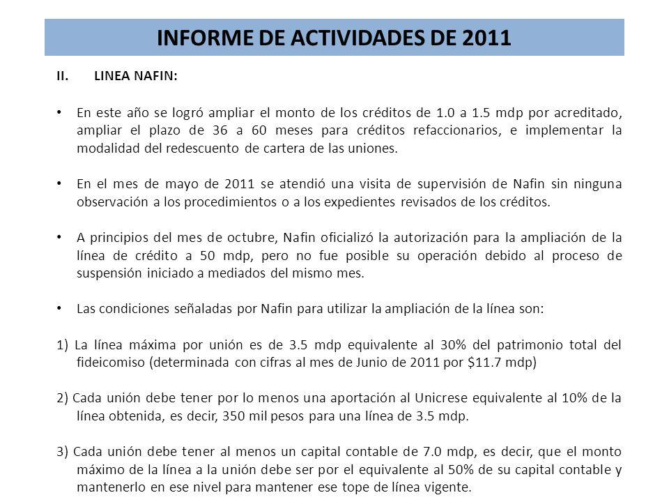 INFORME DE ACTIVIDADES DE 2011 II.LINEA NAFIN: En este año se logró ampliar el monto de los créditos de 1.0 a 1.5 mdp por acreditado, ampliar el plazo