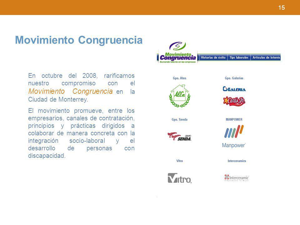 15 En octubre del 2008, rarificamos nuestro compromiso con el Movimiento Congruencia en la Ciudad de Monterrey. El movimiento promueve, entre los empr