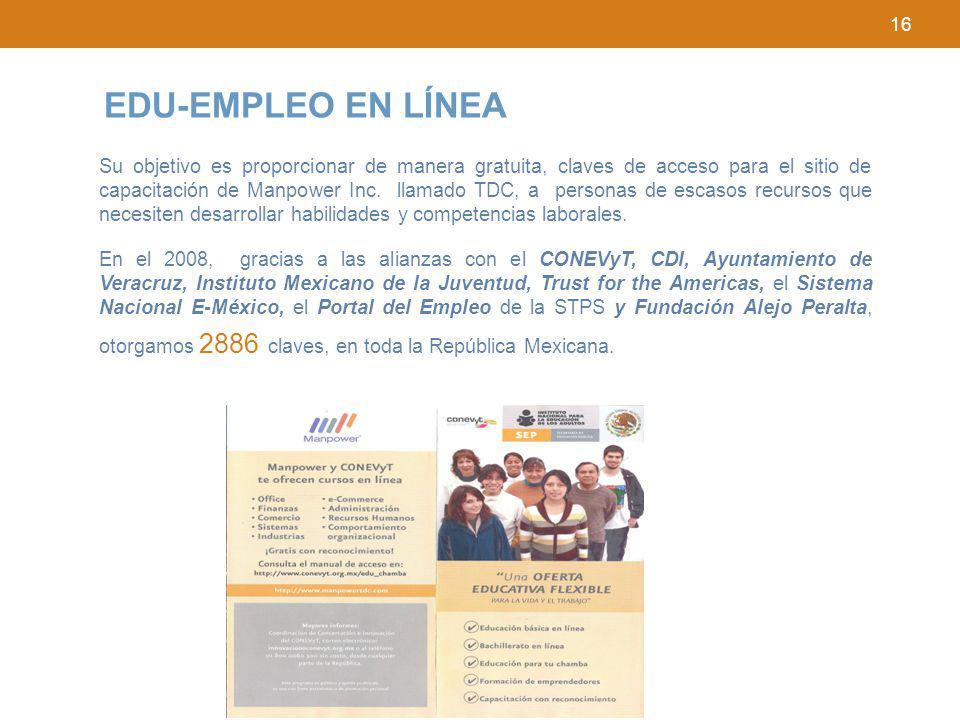 16 EDU-EMPLEO EN LÍNEA Su objetivo es proporcionar de manera gratuita, claves de acceso para el sitio de capacitación de Manpower Inc. llamado TDC, a
