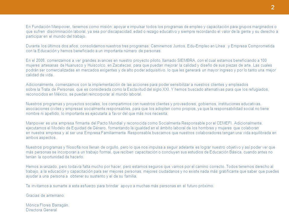 3 Para Manpower MeCARD (México, Centroamérica y República Dominicana) la Responsabilidad Social Corporativa es una visión de negocios que constituye un principio corporativo estratégico que integra el respeto por: a)Los valores éticos b)Nuestros empleados c)El involucramiento con la comunidad d)El cuidado del medio ambiente e)La equidad de género en el ámbito laboral Queriendo hacer público este compromiso, el 22 de junio del 2004, Manpower constituyó legalmente la Fundación Manpower A.C.